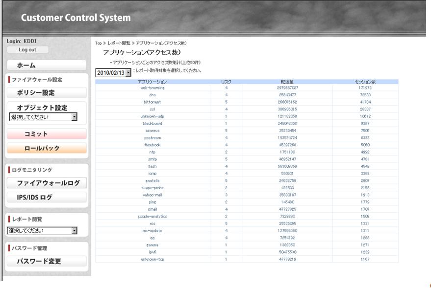 カスコン画面 (トラフィック統計レポート参照画面)